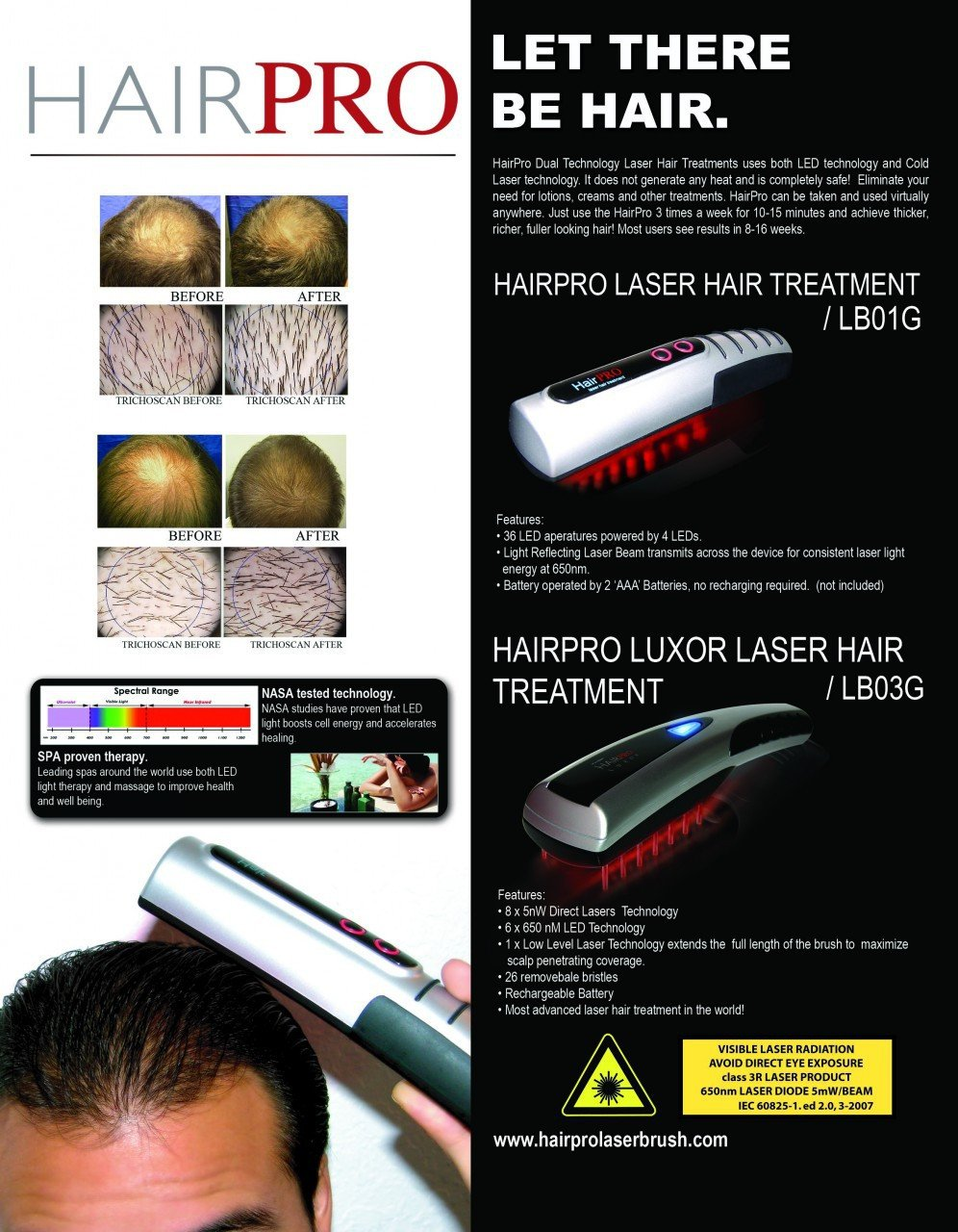 Hairpro Laser Loss Hair Brush Red Light Therapy